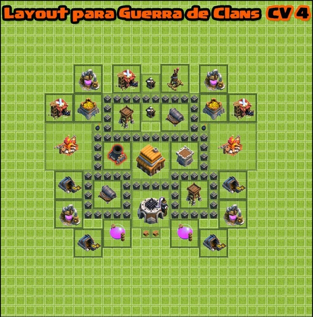 layout clash of clans war cv4 guerra proteger - Layout Cv 4 Clash Of Clans